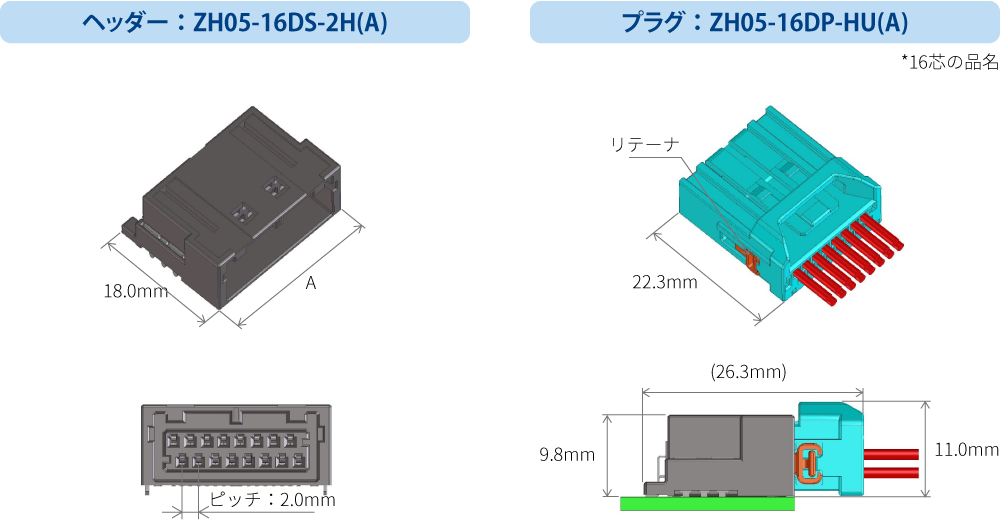 ヘッダー:ZH05-16DS-2H(A)、プラグ:ZH05-16DP-HU(A)