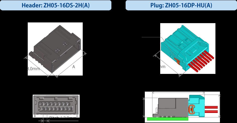Header:ZH05-16DS-2H(A)、Plug:ZH05-16DP-HU(A)